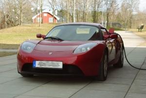 A Tesla Roadster in Uppsala