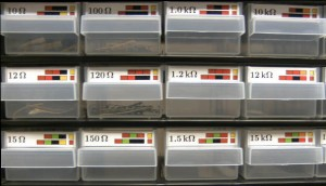 Detailed view of drawers with 50mm x 11mm labels.
