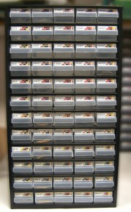 An assortment cabinet labelled for resistors in the E12 series stretching over 5 decades from 10Ω to 820kΩ