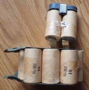 Das Innenleben des Batteriepaketes: 12 sub-C NiMH-Zellen.