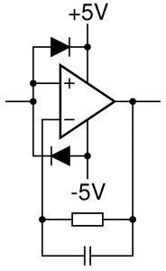 Input protection for the operational amplifiers. The diodes are standard silicon diodes, e.g. 1N4148 or 1N914.