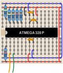 A sketch of the test circuit on a breadboard.