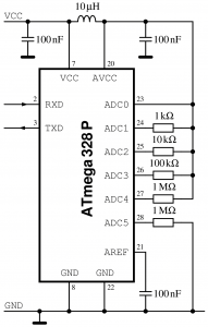 A simple yet versatile testcircuit for the analod-to-digital converter.