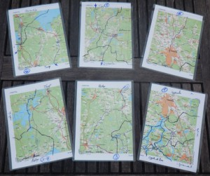 My set of maps for the trip - laminated into plastic pockets.