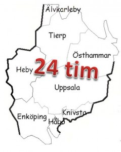 Uppsala county and its eight municipalities (map borrowed from the cache description).