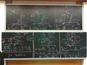 Blackboards during the last lecture in the course Electronics I.