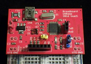The breadboard-mounted USBasp.