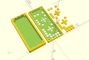 3D view of the housing ot the remote control in OpenSCAD.