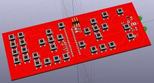 KiCAD #D rendering of the circuit board, showing the button matrix.
