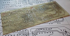 The etched, drilled and tinned circuit board.